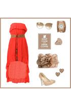 red hi-low dress - ivory hi-low dress