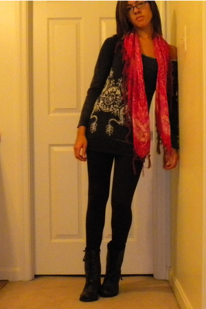 We The Free sweater - Express leggings - Urban Outfitters scarf - Steve Madden b