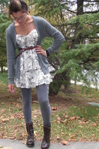 Express sweater - Forever 21 dress - Wet Seal tights - Steve Madden boots - Urba