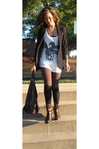 Express blazer - Bebe top - hollister leggings - free people socks - Steve Madde