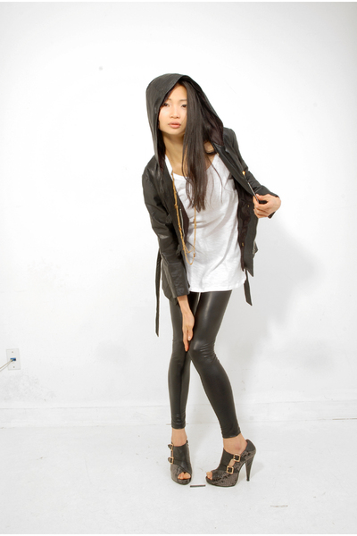 black Vintage leather jacket - black American Apparel leggings - black Sterling