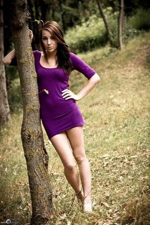 purple Topshop dress - green Steve Madden sandals