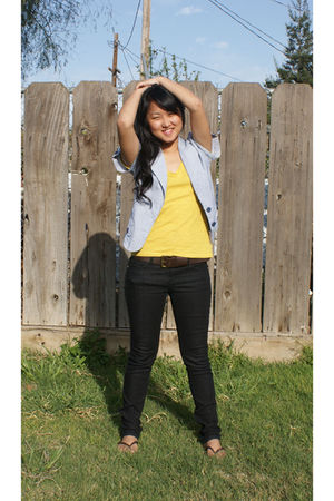 yellow Forever 21 t-shirt - blue Max Rave top - blue Forever 21 jeans - brown pa