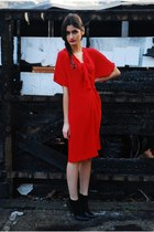 red silk vintage marina rinaldi dress - black cotton ankle Topshop socks