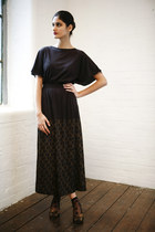 black vintage maxi DollsMaison dress - black polka dot Topshop socks