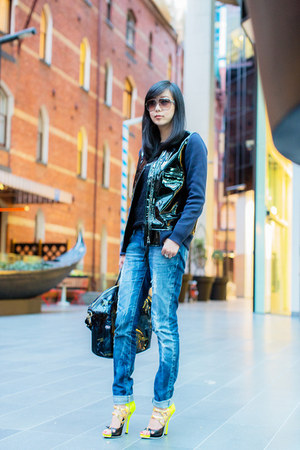 Givenchy bag - denim Zara jeans - patent leather H&amp;M jacket