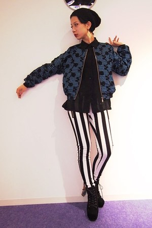 black Dolly & Molly boots - black striped pants Dolly & Molly pants