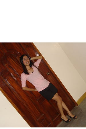 pink blouse - black shorts - shoes