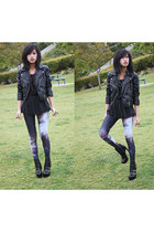 Black Milk Galaxy Leggings leggings - H&M Biker Jacket jacket - f21 top shirt