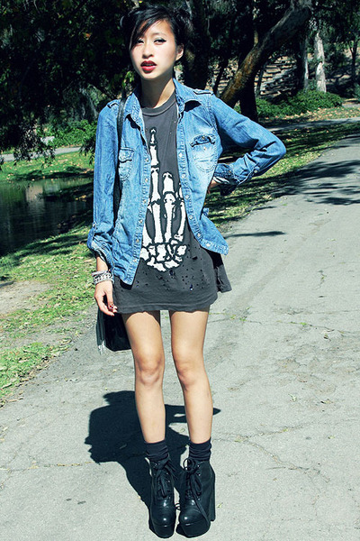 collusul boots Steve Madden boots - denim jacket 2nd Hand jacket - UNIF shirt -