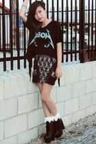 UNIF shirt - lace socks 2nd Hand socks - Topshop skirt - collusul boots Steve Ma