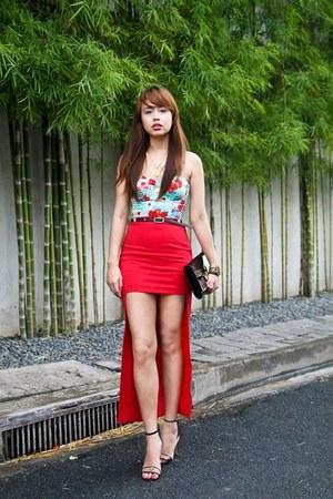 ruby red pinkaholic skirt - black Louis Vuitton bag - aquamarine Topshop top
