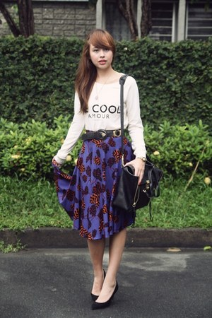 deep purple Sweet Shop skirt - ivory Mango sweater - black 31 Phillip Lim bag