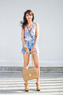 Camel-chanel-bag-blue-plains-prints-romper