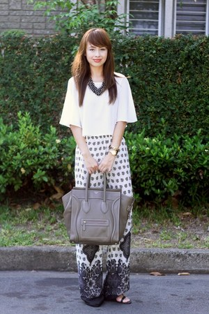 heather gray Celine bag - white Miss Selfridge top - charcoal gray Zara pants