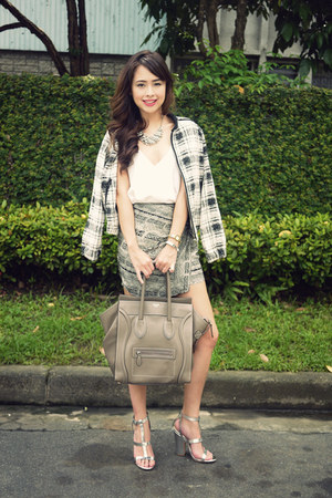 gray suiteblanco skirt - black Mango jacket - heather gray Celine bag