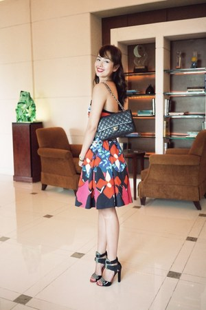 carrot orange Peter Pilotto For Target dress - black Chanel bag