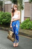 white Zara top - gold YSL bag - blue Forever 21 pants