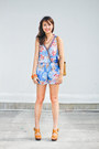 blue Plains & Prints romper - camel Chanel bag