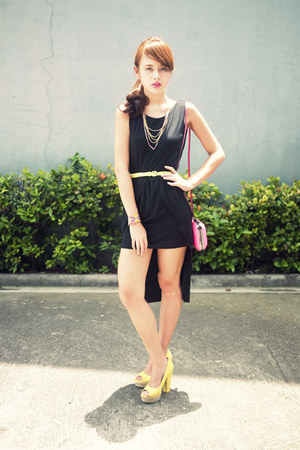 yellow H&M heels - black mullet Rue dress - hot pink Zara bag - yellow H&M belt