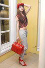 Red-furla-bag-red-stussy-hat-maroon-bershka-top-ruby-red-zara-heels