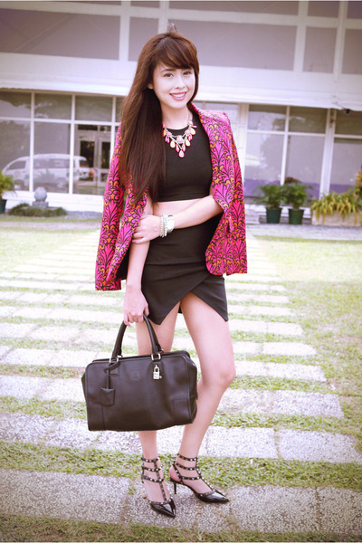 black loewe bag - hot pink Miu Miu blazer - black H&M top
