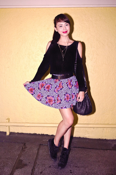 black Alexander Wang bag - amethyst Zara skirt - black Forever 21 top