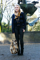 black H&M pants - Topshop sweater - black Bershka boots - vintage scarf - brown