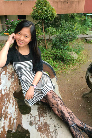 black lace stockings - black and white dress - black flats