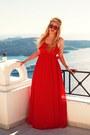Ruby-red-mango-dress-black-romeo-gigli-sunglasses