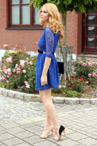 blue lace New Yorker dress - black Disser bag - Zara sandals