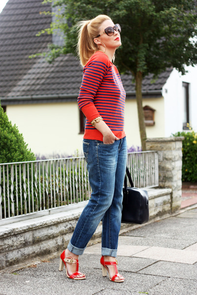 boyfriend Cambio jeans - carrot orange striped marie lund sweater