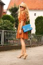 Burnt-orange-esprit-dress-blue-lookbook-store-bag-camel-aldo-pumps