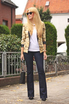 camel animal print chicnova blazer - navy boot cut Esprit jeans
