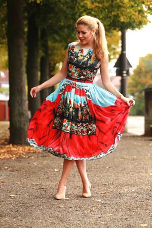camel Aldo shoes - ruby red romwe dress