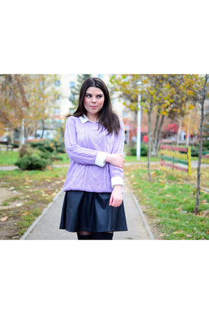 violet Mart of China sweater - black PERSUNMALL skirt