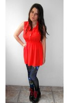 black Deichmann boots - red paper queen dress - navy romwe leggings
