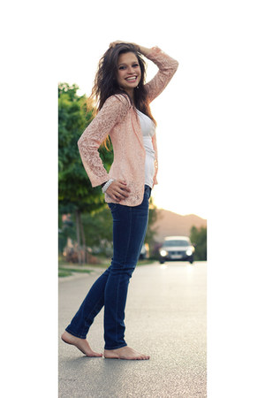 coral lace new look blazer - navy abercrombie and fitch jeans