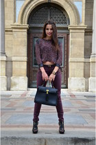 black Aldo bag - crimson knitted asos sweater - crimson New Yorker pants