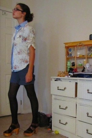 sky blue collared shirt shirt - black opaque tights Target tights - navy roll-up