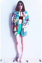 aquamarine floral vintage blazer