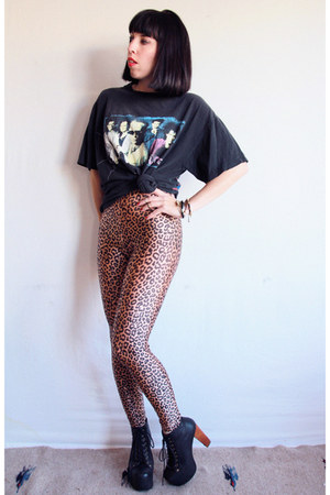 black lita Jeffrey Campbell boots - gold leopard print American Apparel leggings