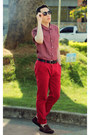 red Rockstter pants - dark brown Ferracini shoes - maroon Uselets shirt