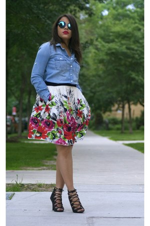 JCPenney skirt - Jcrew shirt - zeroUV sunglasses - Clothes Envy heels