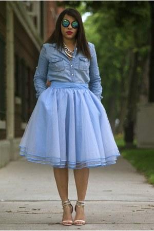 eshakticom skirt - Jcrew shirt - zeroUV sunglasses - Forever 21 heels