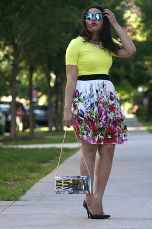 zeroUV sunglasses - JCPenney skirt - Qupid heels - Forever 21 top
