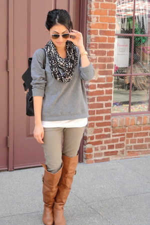 army green H&amp;M pants - charcoal gray H&amp;M sweater - H&amp;M scarf - black OASAP bag
