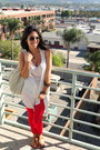 Eggshell-urban-outfitters-bag-red-forever21-pants-neutral-h-m-top