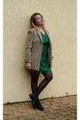 Green-silk-zara-dress-camel-mums-blazer