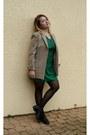 Green-silk-zara-dress-camel-mums-blazer